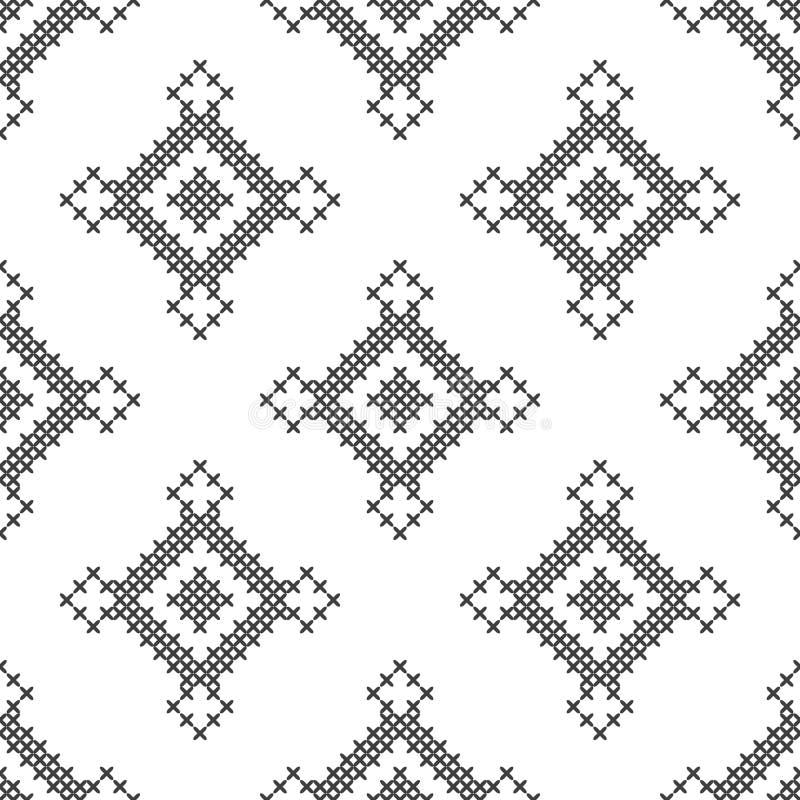 Перекрестный стежок, безшовная декоративная картина Вышивка и вязать абстрактная предпосылка геометрическая этнические орнаменты бесплатная иллюстрация