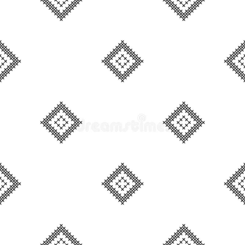 Перекрестный стежок, безшовная декоративная картина Вышивка и вязать абстрактная предпосылка геометрическая этнические орнаменты иллюстрация штока