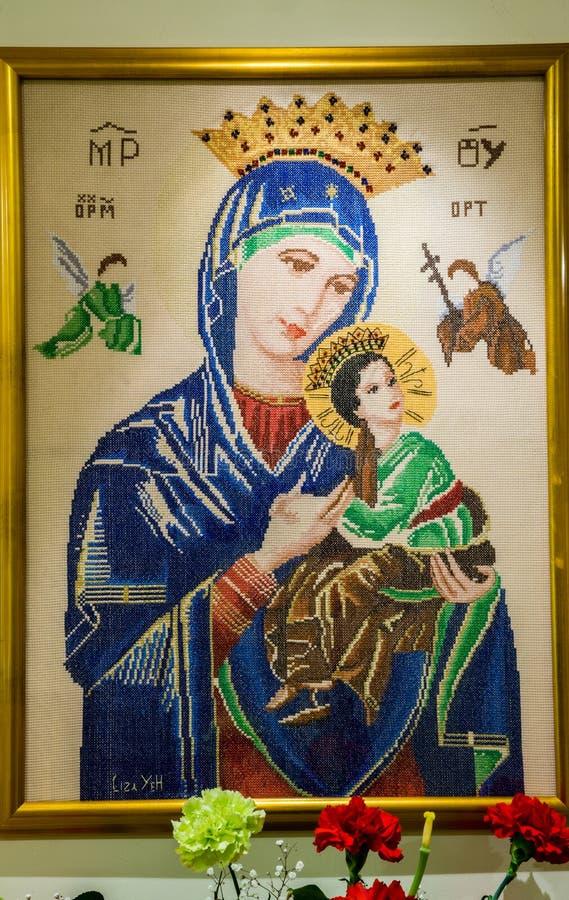Перекрестный стежок матери Mary, матери вечной помощи стоковое изображение