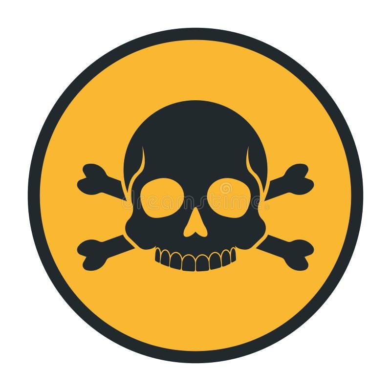 Перекрещенные кости знака опасности силуэта черепа смерти человеческие предупреждая значок vector иллюстрация иллюстрация вектора