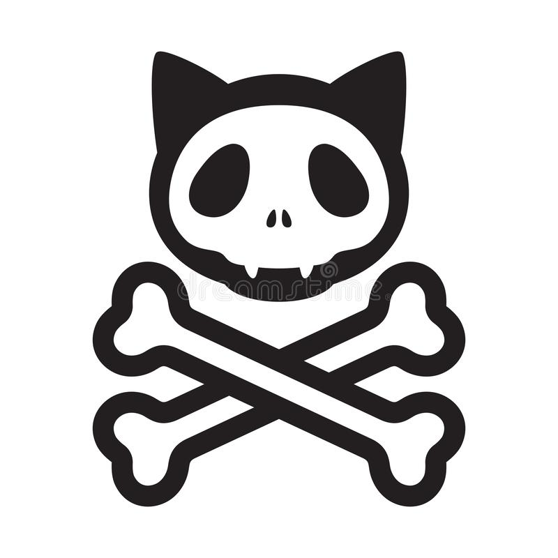 Перекрещенные кости черепа кота vector символ иллюстрации шаржа котенка хеллоуина пирата логотипа значка иллюстрация вектора