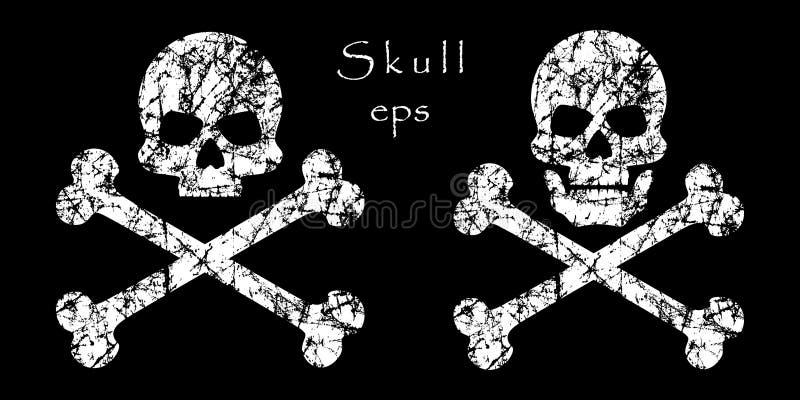 Перекрещенные кости Grunge на изолированной темной предпосылке Смерть черепа, предупреждение, опасность или отрава, плоский значо иллюстрация штока