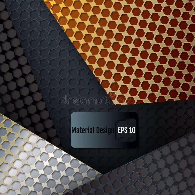 Перекрывая решетка углерода Материальная идея проекта Решетка шестиугольника бесплатная иллюстрация