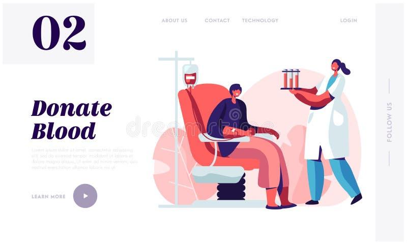 Переливание, страница посадки вебсайта лаборатории донорства крови Женщина дарит источник жизненной силы, пробирки нося характера иллюстрация вектора