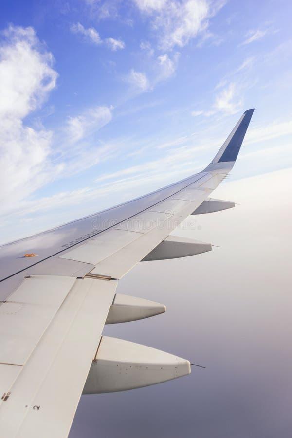 Перемещать плоскостью Взгляд от окна к облакам и голубому небу стоковая фотография rf