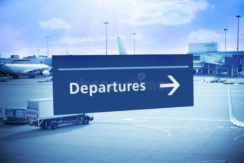 Перемещение авиапорта знака отклонения стоковые изображения