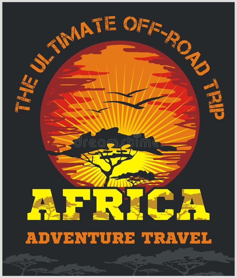 Перемещение Африка - весьма внедорожная эмблема вектора иллюстрация вектора