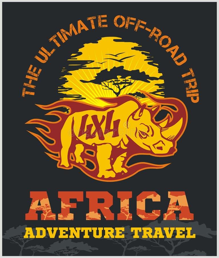 Перемещение Африка - весьма внедорожная эмблема вектора иллюстрация штока