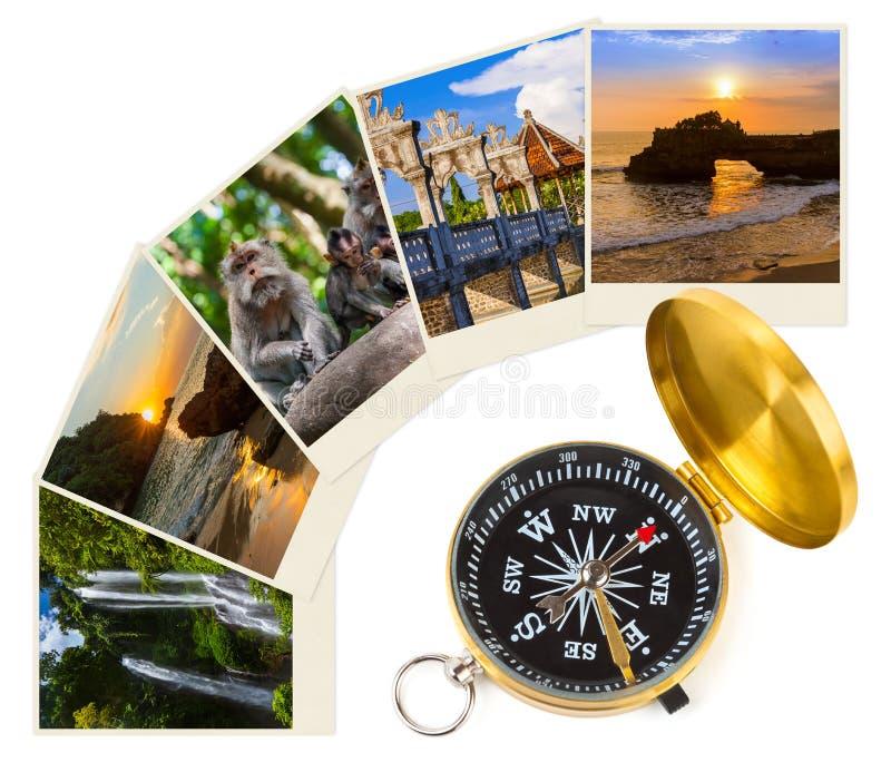 Перемещение Бали Индонезии отображает мои фото и компас стоковое изображение