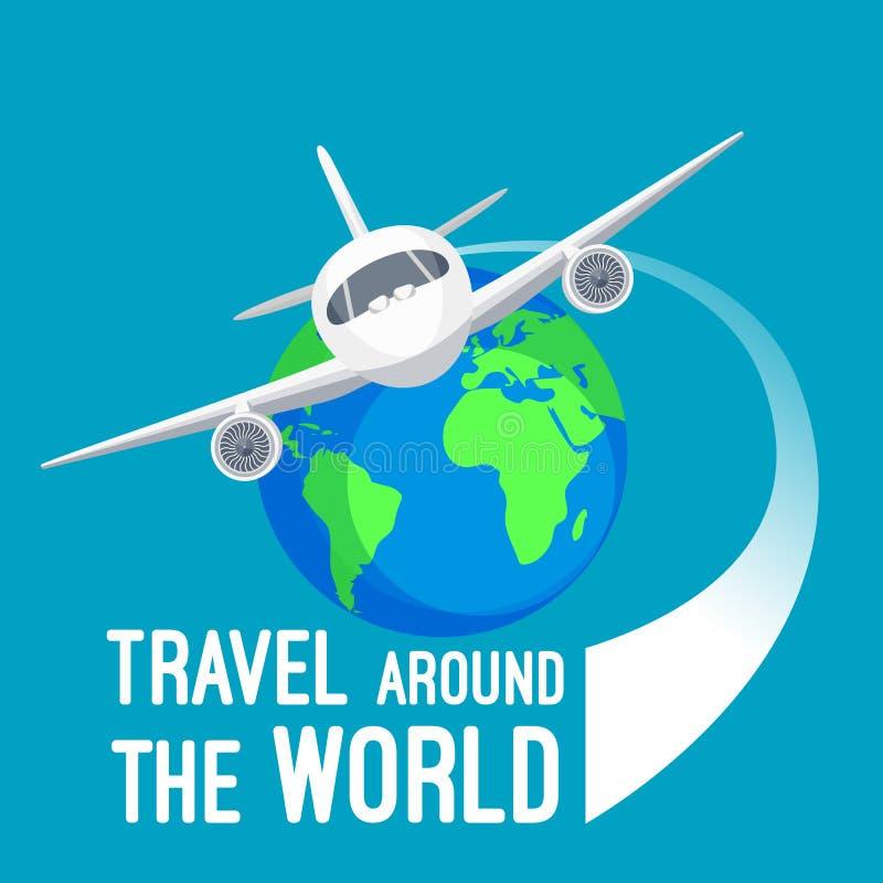 Перемещение вокруг мира быстрыми транспортными средствями дизайн логотипа бесплатная иллюстрация