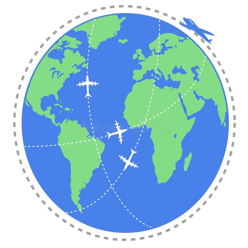 Перемещение летания самолета по всему миру иллюстрация штока