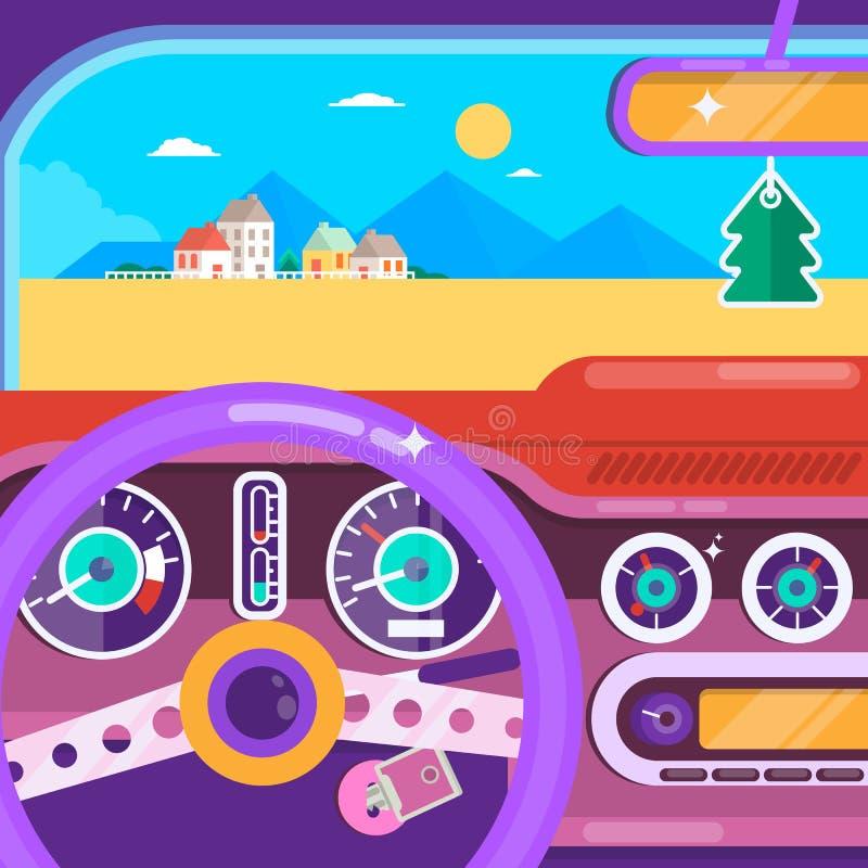 перемещение игрушки карты европы автомобиля Концепция автомобиля перемещения лета Плоская иллюстрация вектора иллюстрация вектора