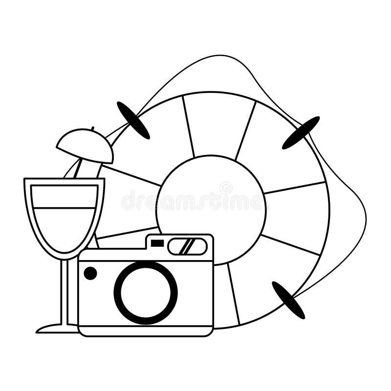 Перемещение и летние каникулы в черно-белом иллюстрация вектора