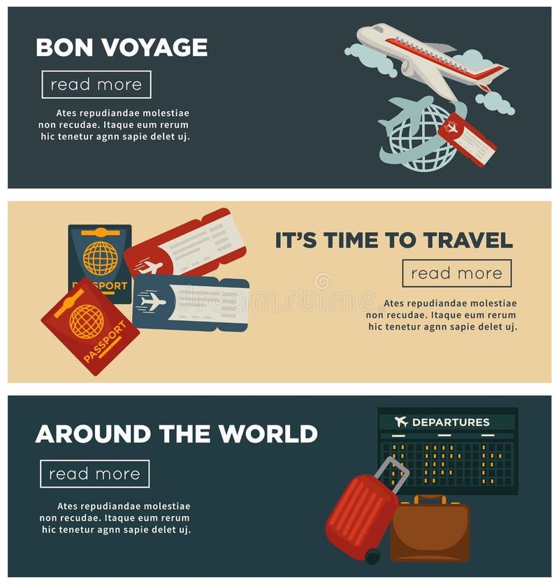Перемещение и мир задействуют дизайн вектора знамен плоский багажа пасспорта и путешественника иллюстрация штока