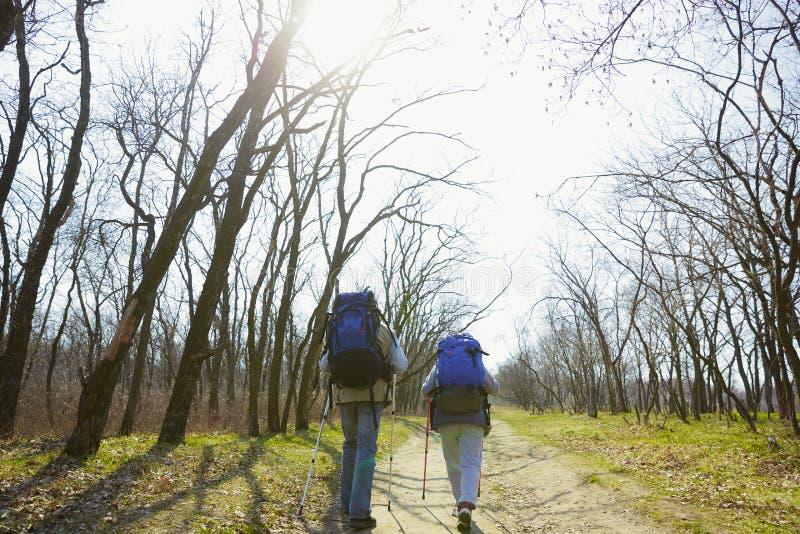 Перемещение и туризм Пары семьи наслаждаясь прогулкой совместно стоковая фотография rf