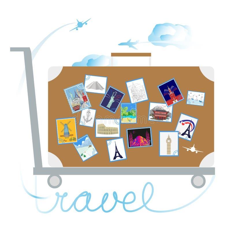 Перемещение и туризм Стикеры на чемодане иллюстрация вектора