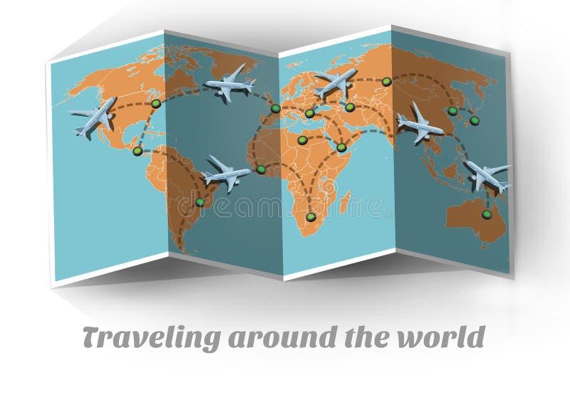 Перемещение карты самолетом по всему миру иллюстрация штока