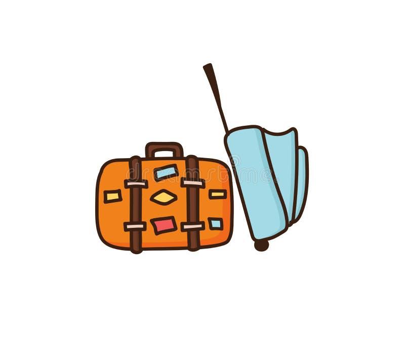 Перемещение кладет готовое в мешки на каникулы Чемодан багажа лета и кожаная сумка с стикерами ретро тип Doodle вектора нарисован иллюстрация штока