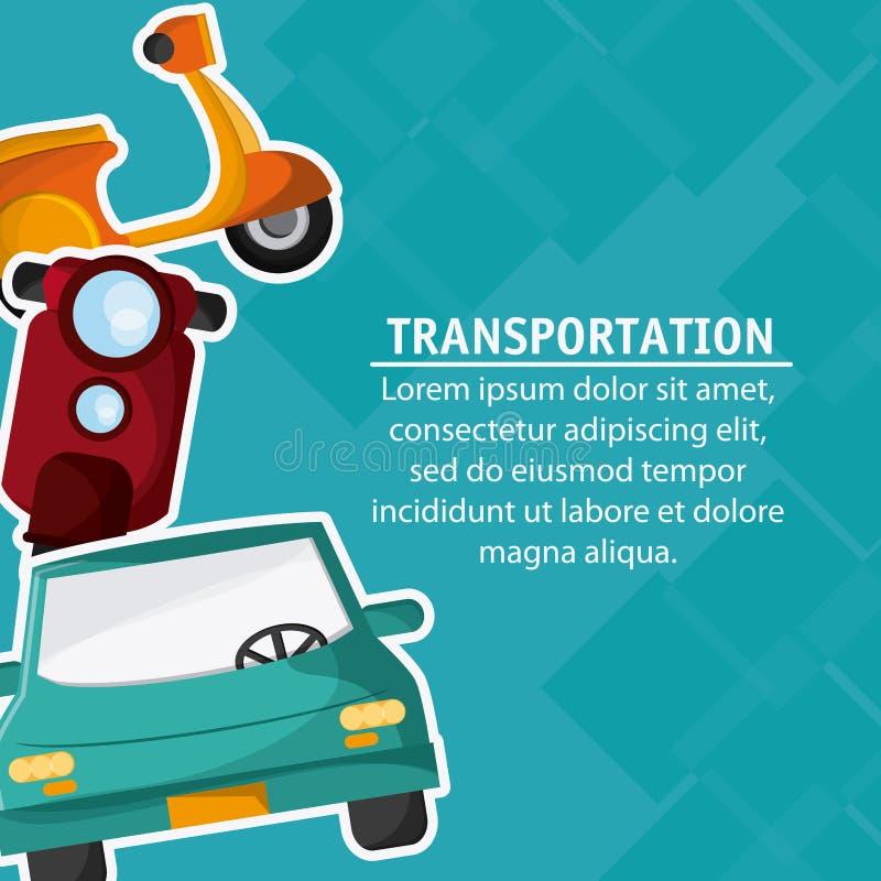 Перемещение корабля транспорта автомобиля мотоцикла, вектор бесплатная иллюстрация