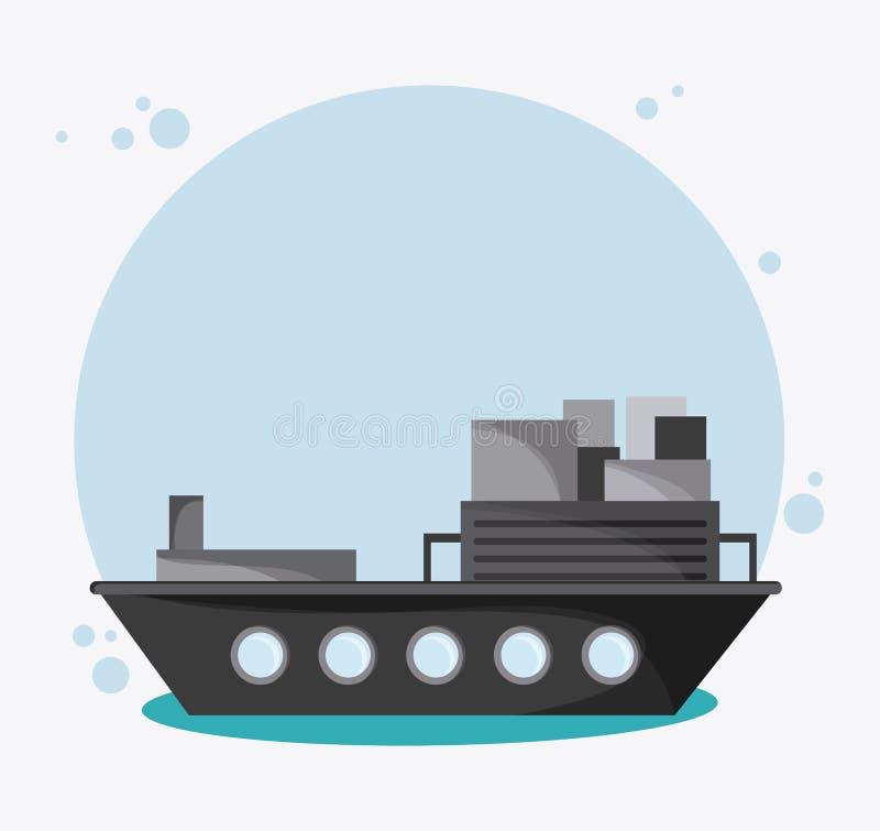 Перемещение корабля транспорта корабля, вектор иллюстрация штока