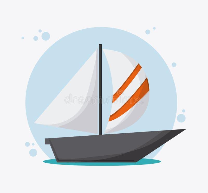 Перемещение корабля транспорта парусника, вектор иллюстрация штока