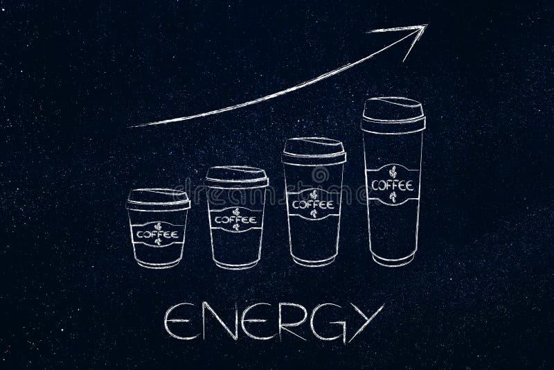Перемещение кофе mugs рядом друг с другом в стиле диаграммы в виде вертикальных полос с иллюстрация штока