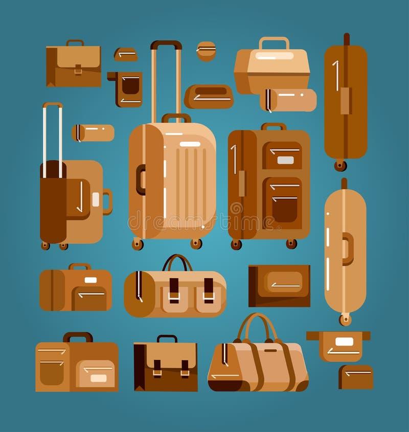 Перемещение кладет чемодан в мешки багажа бесплатная иллюстрация