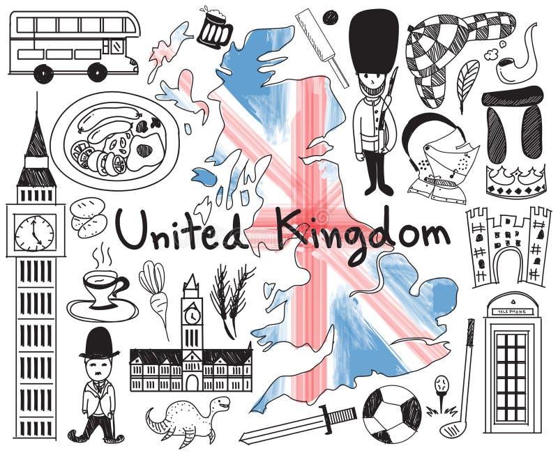 Перемещение к Великобритании Англии и Шотландия doodle чертеж иллюстрация вектора