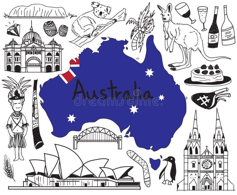 Перемещение к значку чертежа doodle Австралии бесплатная иллюстрация