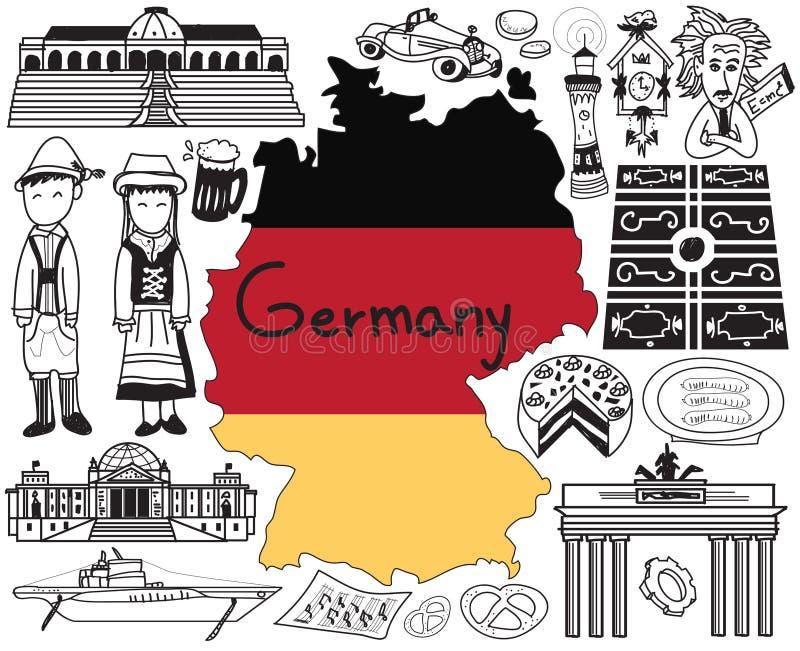 Перемещение к значку чертежа doodle Германии иллюстрация вектора