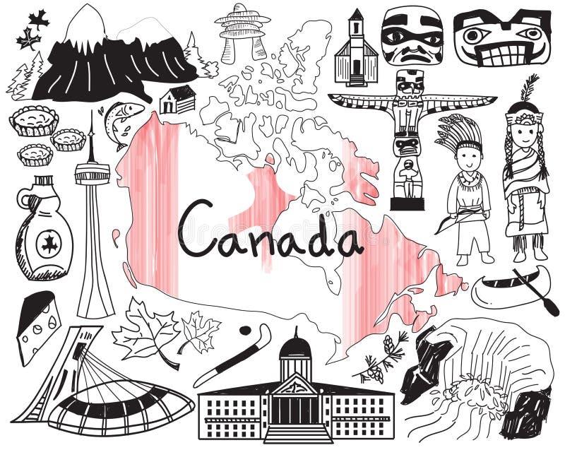 Перемещение к значку чертежа doodle Канады иллюстрация вектора
