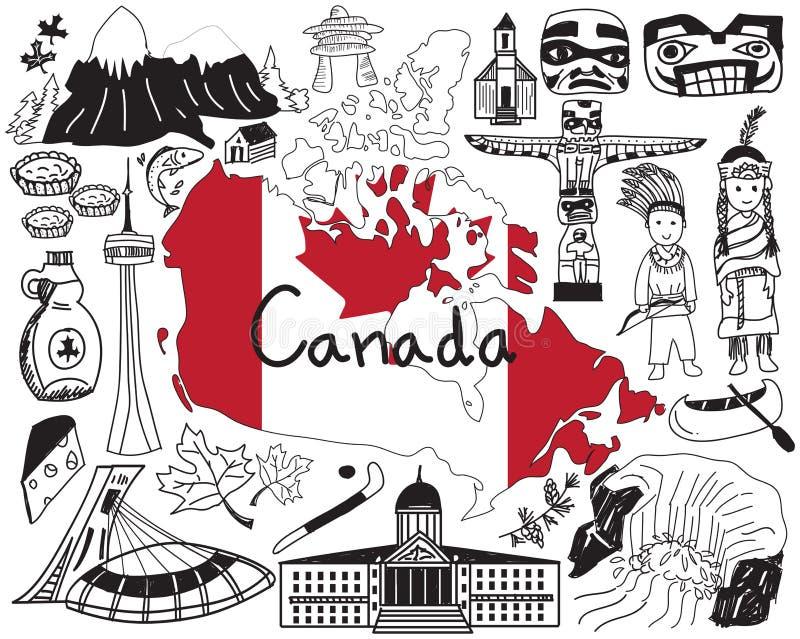 Перемещение к значку чертежа doodle Канады иллюстрация штока