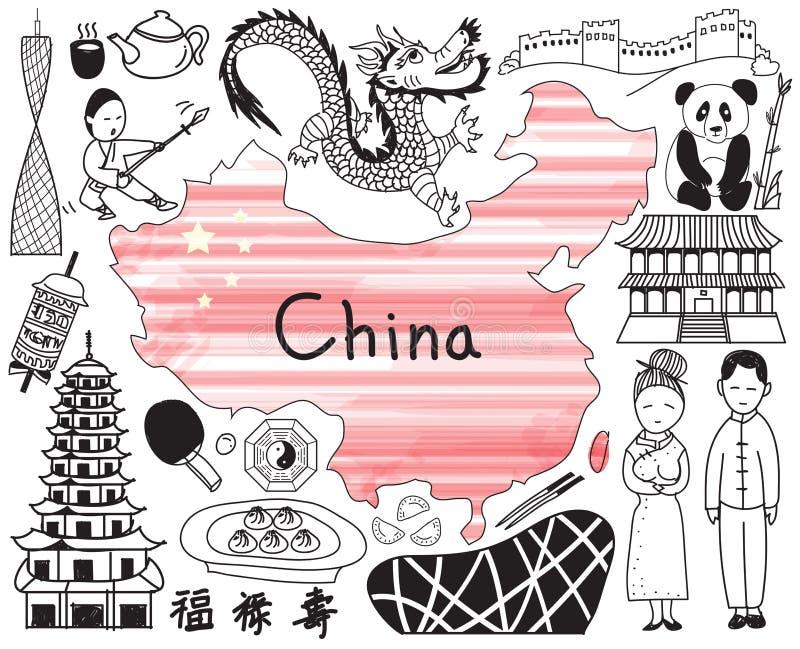 Перемещение к значку чертежа doodle Китая иллюстрация штока