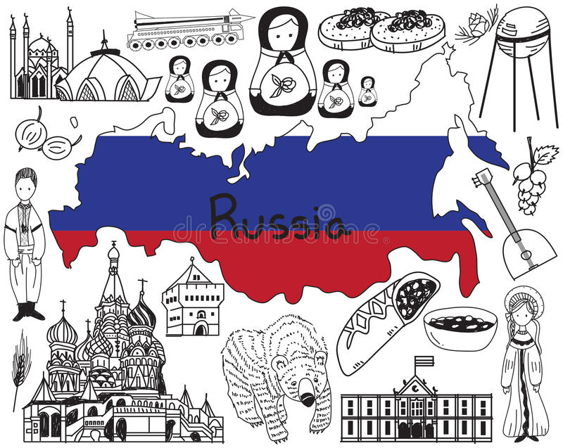 Перемещение к значку чертежа doodle России бесплатная иллюстрация
