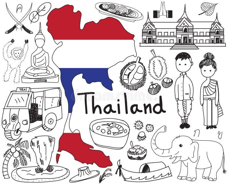 Перемещение к значку чертежа doodle Таиланда Сиама иллюстрация вектора