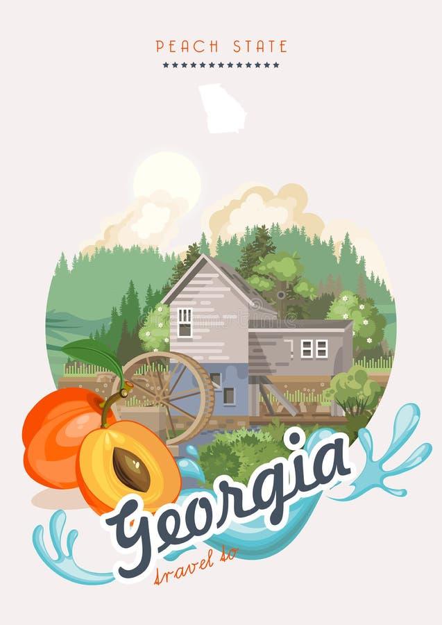 Перемещение к иллюстрации Georgia США Плакат вектора положения персика Предпосылка перемещения в плоском стиле иллюстрация штока