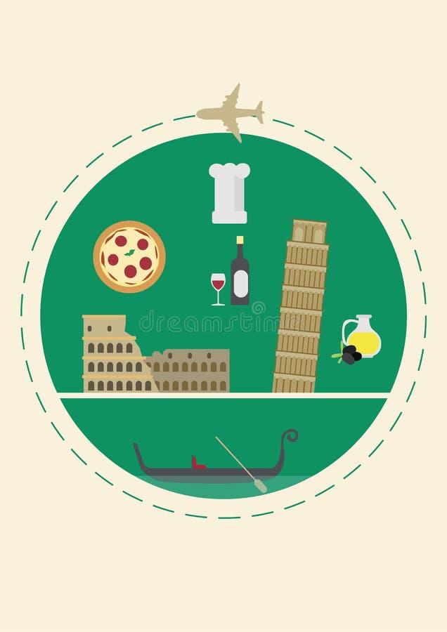 Перемещение к Италии Крышка для брошюры или карточки, плаката или стикера также вектор иллюстрации притяжки corel иллюстрация вектора