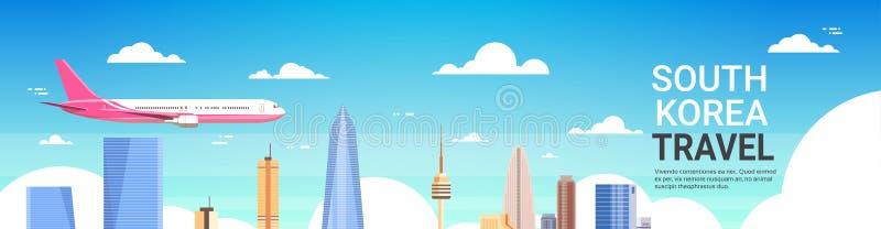 Перемещение к мухе самолета плаката Южной Кореи над горизонтом города Сеула с небоскребами и ориентир ориентирами бесплатная иллюстрация