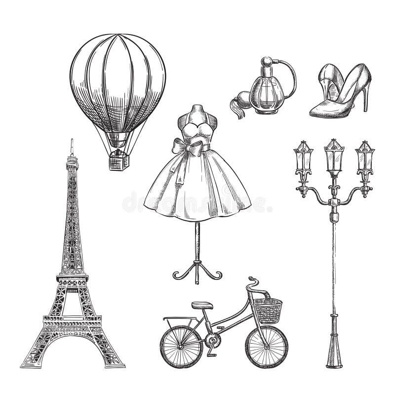 Перемещение к нарисованной руке Франции изолировало элементы дизайна Иллюстрация вектора эскиза Парижа иллюстрация штока