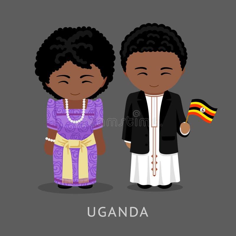 Перемещение к Уганде Человек и женщина в традиционном костюме иллюстрация вектора