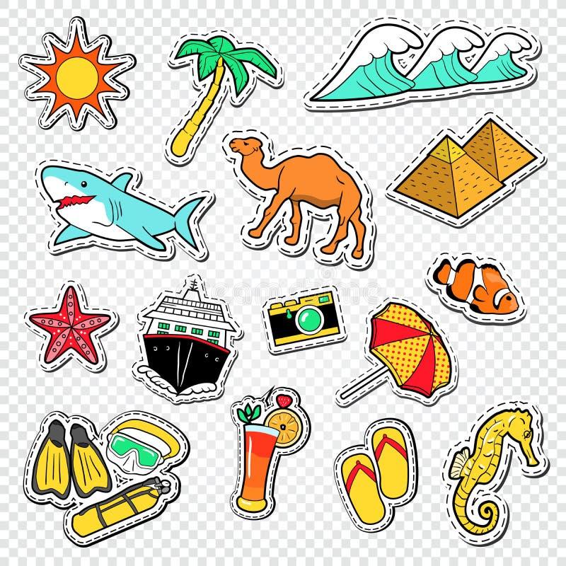 Перемещение к Doodle Египта Египетские стикеры, значки и заплаты ориентир ориентира с пирамидами и животными иллюстрация штока