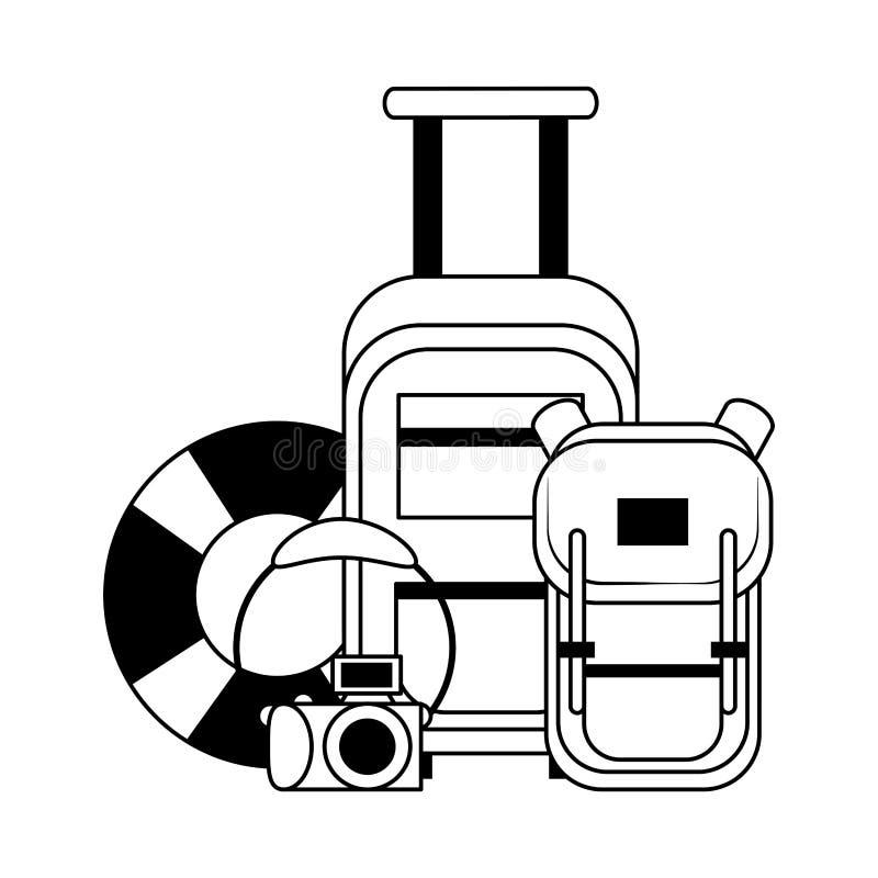 Перемещение лета и мультфильмы каникул в черно-белом иллюстрация вектора