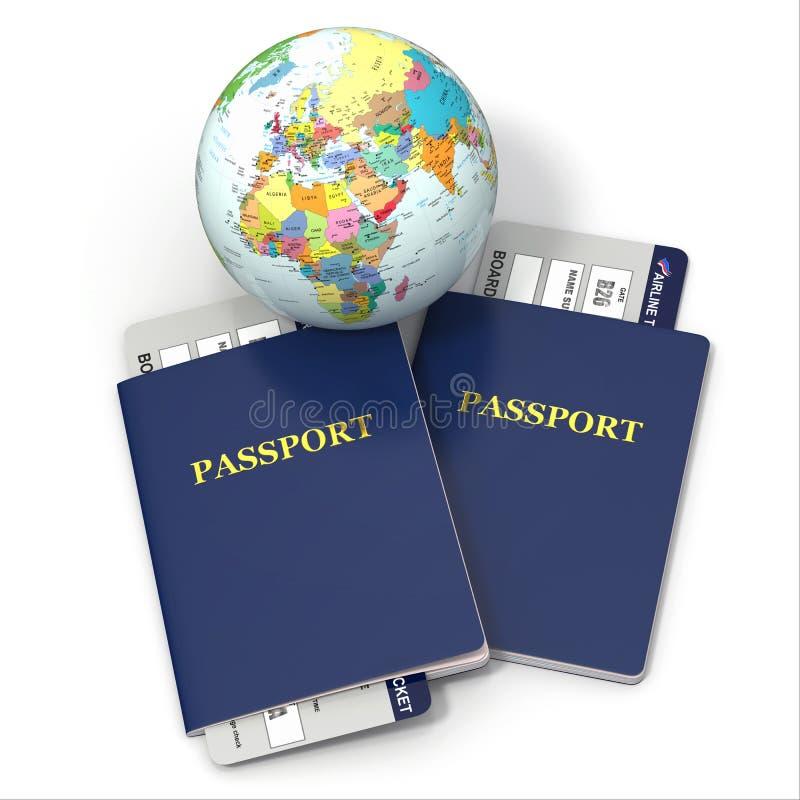 Перемещение мира. Земля, авиабилеты и пасспорт. 3d иллюстрация штока