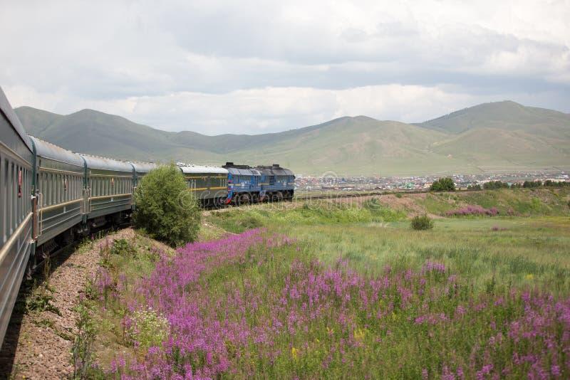 Перемещение монгольского поезда Trans экзотическое, Монголия стоковая фотография rf