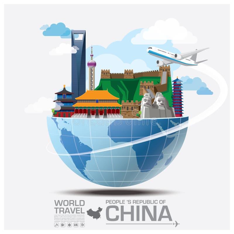 Перемещение ориентир ориентира Китая глобальное и путешествие Infographic бесплатная иллюстрация