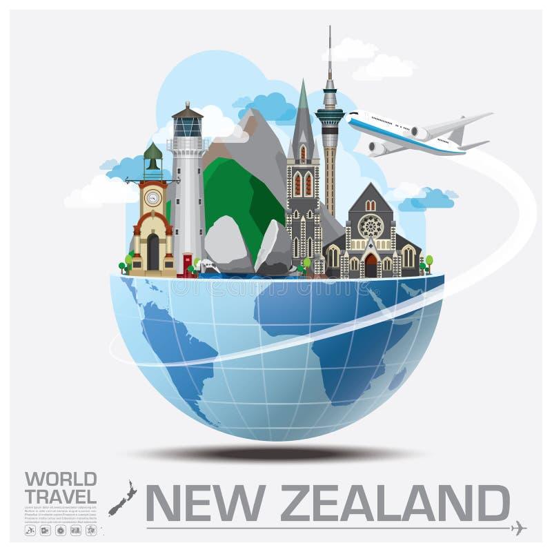 Перемещение ориентир ориентира Новой Зеландии глобальное и путешествие Infographic иллюстрация штока