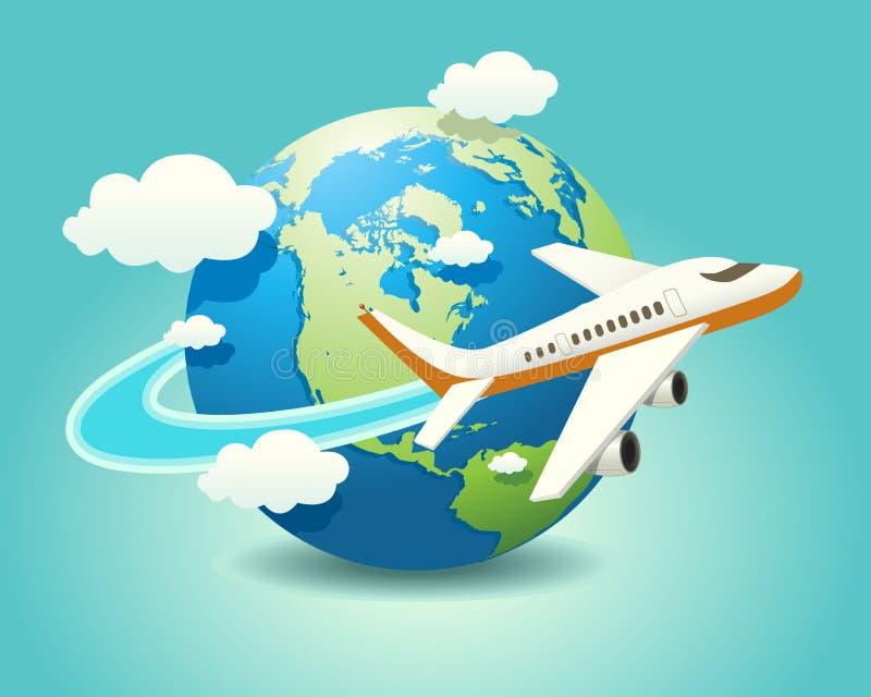 Перемещение самолета иллюстрация штока
