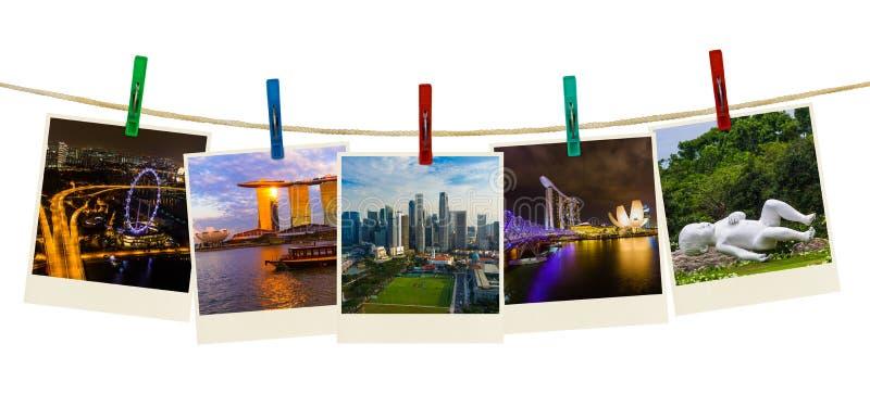 Перемещение Сингапура отображает мои фото на зажимках для белья стоковое изображение rf