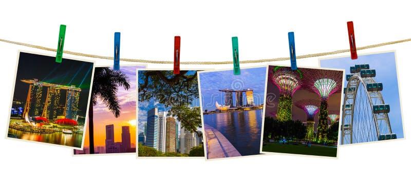 Перемещение Сингапура отображает мои фото на зажимках для белья стоковые фотографии rf
