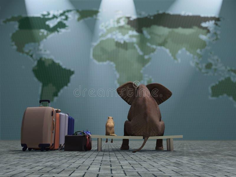 Перемещение собаки и слона иллюстрация штока